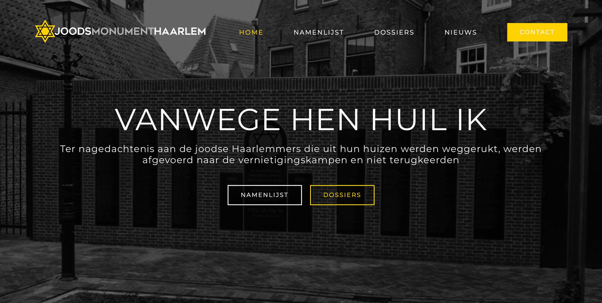 Website Joods Monument Haarlem